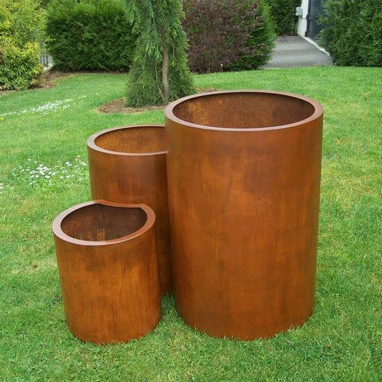 3 pots Corten ronds