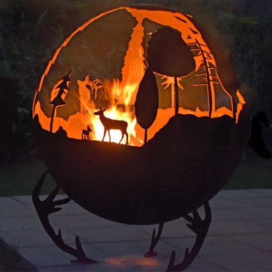 Braséro sphère acier Corten
