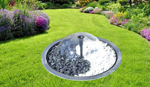 Fontaine jardin cloche acier inox
