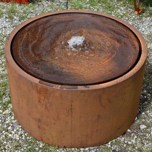 Fontaine de jardin ronde en acier Corten