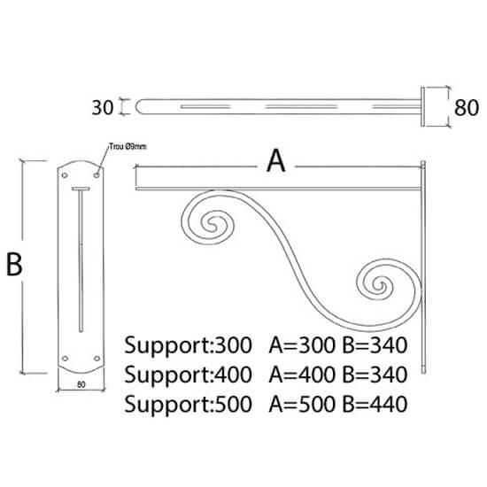 Support pour girouette métallique