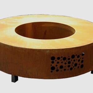 Table de feu acier Corten ronde